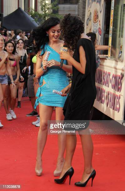 Singer Katy Perry arrives on the red carpet of the 21st Annual MuchMusic Video Awards at the MuchMusic HQ on June 20 2010 in Toronto Canada
