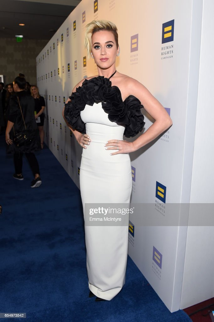 Singer Katy Perry at The Human Rights Campaign 2017 Los Angeles Gala Dinner at JW Marriott Los Angeles at L.A. LIVE on March 18, 2017 in Los Angeles, California.