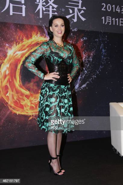 Singer Katy Perry attends a press conference after Infiniti Concert at National Indoor Stadium on January 11 2014 in Beijing China