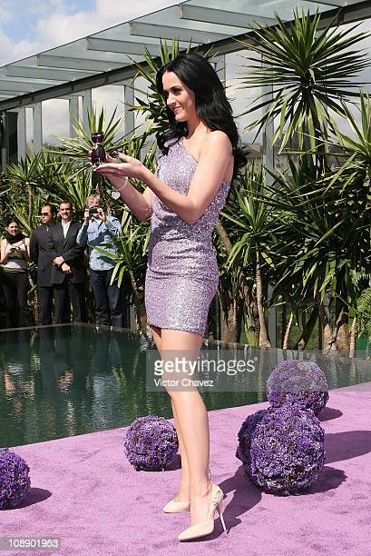 Singer Katy Perry attends a press conference for her new perfume Purr at Liverpool Perisur on February 5 2011 in Mexico City Mexico