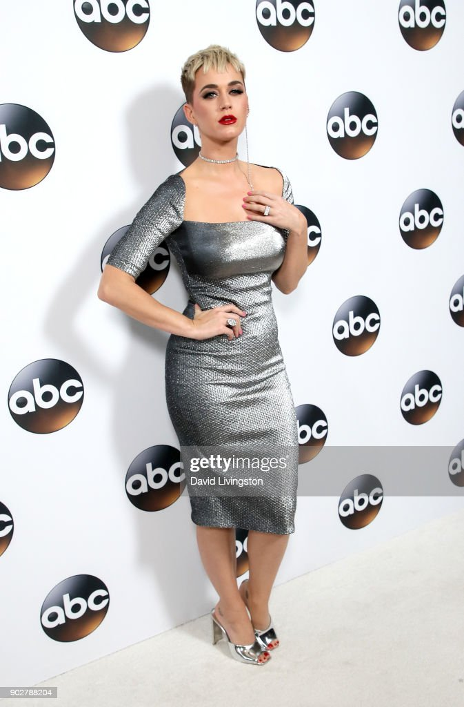 Singer Katy Perry attends Disney ABC Television Group's TCA Winter Press Tour 2018 at The Langham Huntington, Pasadena on January 8, 2018 in Pasadena, California.