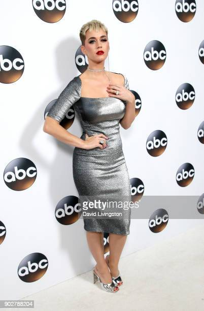 Singer Katy Perry attends Disney ABC Television Group's TCA Winter Press Tour 2018 at The Langham Huntington Pasadena on January 8 2018 in Pasadena...