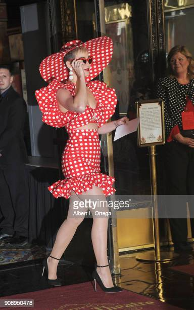 Singer Katy Perry attends Disney's Minnie Mouse 90th Anniversary Celebration Star ceremony On The Hollywood Walk Of Fame on January 22 2018 in...