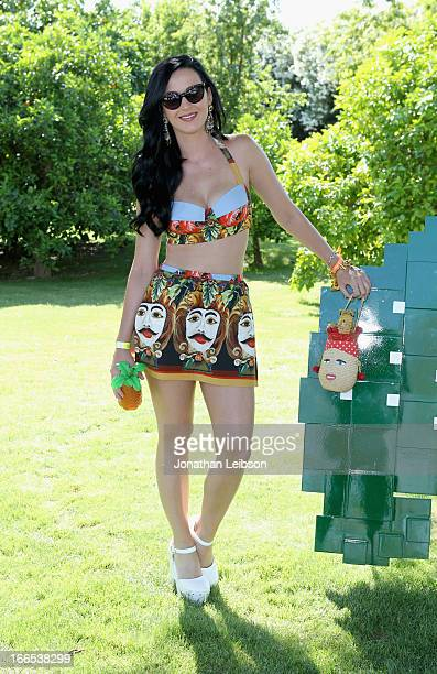 Singer Katy Perry attends LACOSTE LVE 4th Annual Desert Pool Party on April 13 2013 in Thermal California