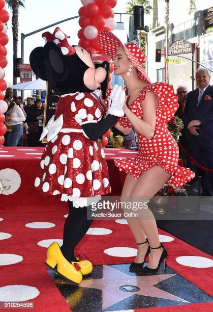 Singer Katy Perry attends the ceremony honoring Disney's Minnie Mouse celebrating her 90th Anniversary with a star on the Hollywood Walk of Fame on...