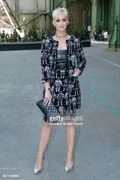 Singer Katy Perry attends the Chanel Haute Couture Fall/Winter 20172018 show as part of Haute Couture Paris Fashion Week on July 4 2017 in Paris...