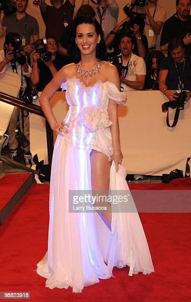 Singer Katy Perry attends the Costume Institute Gala Benefit to celebrate the opening of the 'American Woman Fashioning a National Identity'...