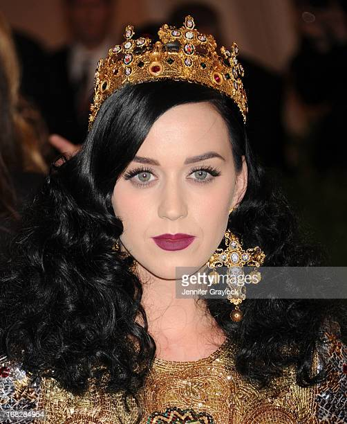 Singer Katy Perry attends the Costume Institute Gala for the 'PUNK Chaos to Couture' exhibition at the Metropolitan Museum of Art on May 6 2013 in...