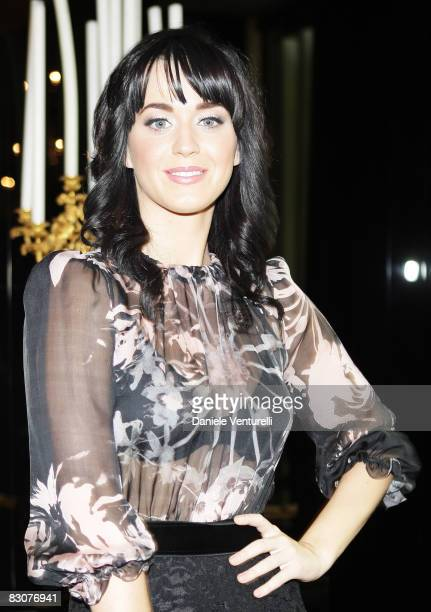 US singer Katy Perry attends the DG fashion show at Milan Fashion Week Womenswear Spring/Summer 2009 on September 22 2008 in Milan Italy