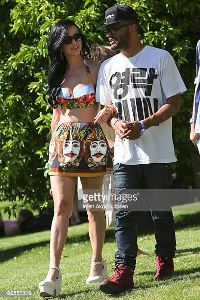 Singer Katy Perry attends the FIJI Water At Lacoste LVE Coachella Desert Pool Party on April 13 2013 in Palm Springs California
