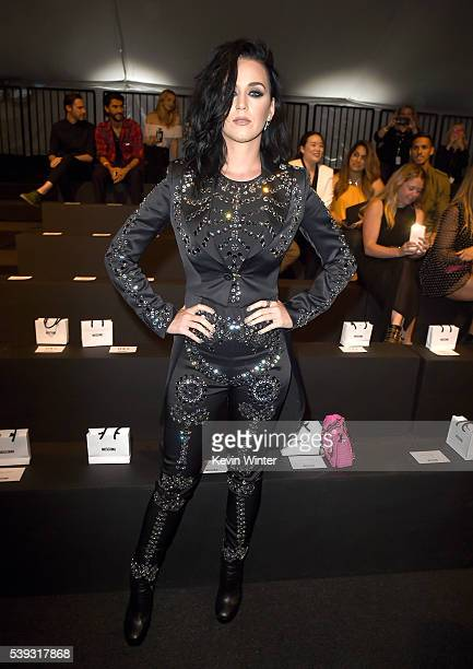 Singer Katy Perry attends the Moschino Spring/Summer 17 Menswear and Women's Resort Collection during MADE LA at LA LIVE Event Deck on June 10 2016...
