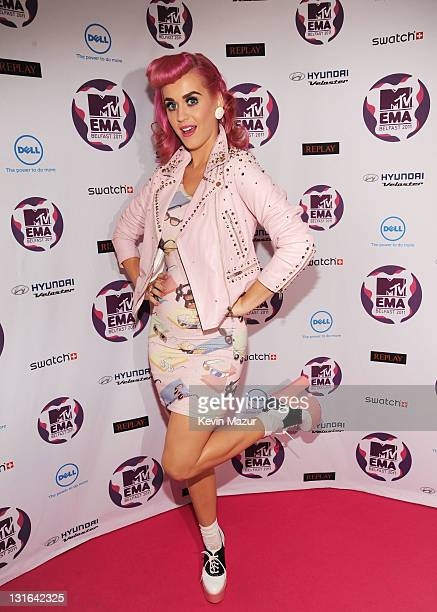 Singer Katy Perry attends the MTV Europe Music Awards 2011 at the Odyssey Arena on November 6 2011 in Belfast Northern Ireland