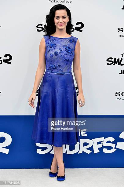 Singer Katy Perry attends the premiere of Columbia Pictures' 'Smurfs 2' at Regency Village Theatre on July 28 2013 in Westwood California