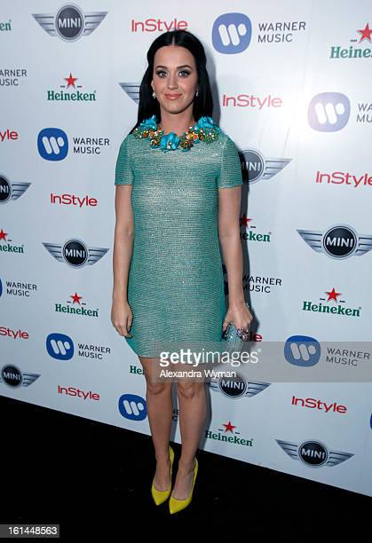 Singer Katy Perry attends the Warner Music Group 2013 Grammy Celebration Presented By Mini at Chateau Marmont on February 10 2013 in Los Angeles...