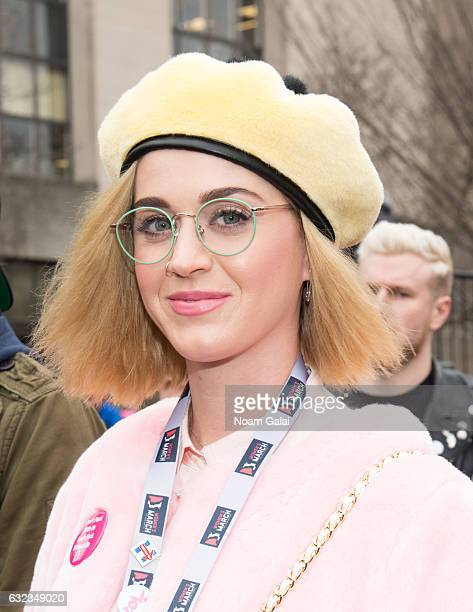 Singer Katy Perry attends the Women's March on Washington on January 21 2017 in Washington DC
