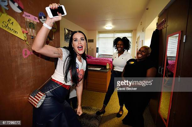 Singer Katy Perry canvasses for Democratic presidential candidate Hillary Clinton in dorm rooms at UNLV on October 22 2016 in Las Vegas Nevada Today...