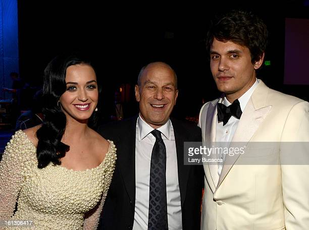 Singer Katy Perry Chairman CEO of Island Def Jam and Universal Motown Republic Group Barry Weiss and singer John Mayer arrive at the 55th Annual...