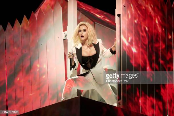 Singer Katy Perry during The 59th GRAMMY Awards at STAPLES Center on February 12 2017 in Los Angeles California