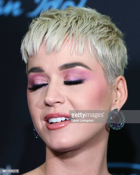 Singer Katy Perry eyeshadow detail attends ABC's American Idol Finale on May 21 2018 in Los Angeles California