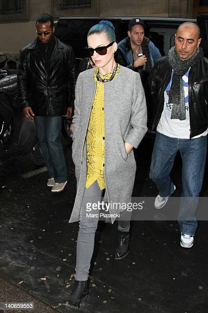 Singer Katy Perry is seen arriving at the 'L'Eclaireur' fashion store on March 4, 2012 in Paris, France.
