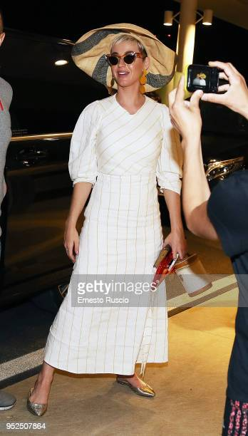 Singer Katy Perry is seen at Ciampino Airport on April 28 2018 in Rome Italy