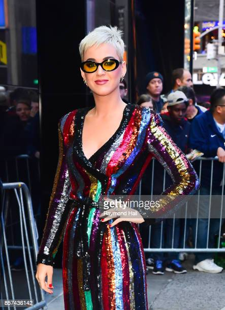 Singer Katy Perry is seen outside good Morning America on October 4 2017 in New York City