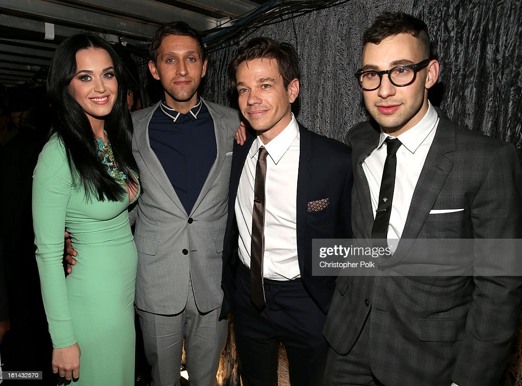 Singer Katy Perry, musician Andrew Dost, Nate Ruess, and Jack Antonoff of Fun. attend the 55th Annual GRAMMY Awards at Staples Center on February 10, 2013 in Los Angeles, California.