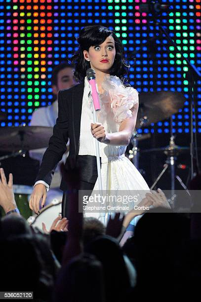 Singer Katy Perry on stage at the 2008 MTV Europe Music Awards in Liverpool