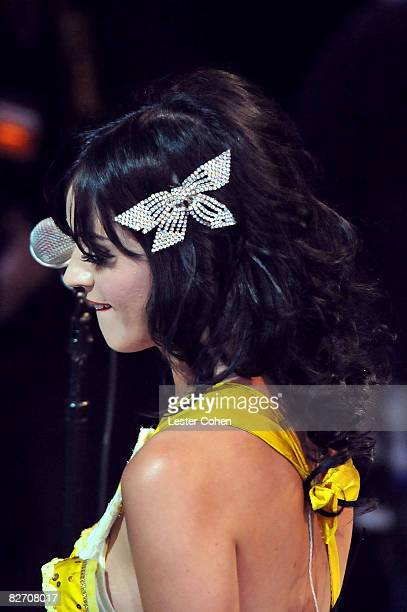 Singer Katy Perry on stage at the 2008 MTV Video Music Awards at Paramount Pictures Studios on September 7 2008 in Los Angeles California