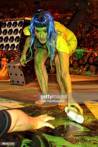 COVERAGE** Singer Katy Perry onstage at Nickelodeon's 23rd Annual Kids' Choice Awards held at UCLA's Pauley Pavilion on March 27 2010 in Los Angeles...