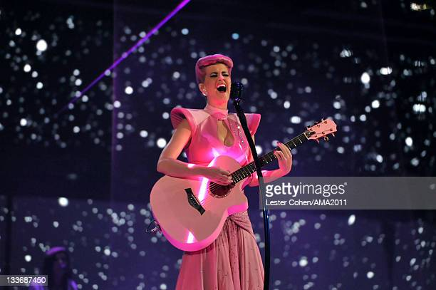Singer Katy Perry onstage at the 2011 American Music Awards held at Nokia Theatre L.A. LIVE on November 20, 2011 in Los Angeles, California.