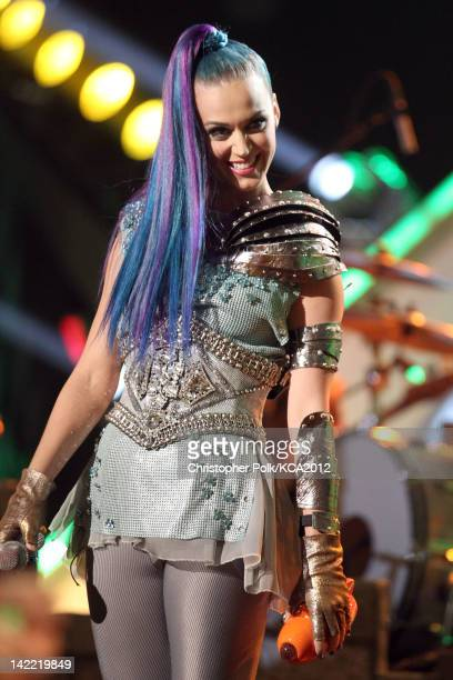 Singer Katy Perry performs at Nickelodeon's 25th Annual Kids' Choice Awards held at Galen Center on March 31 2012 in Los Angeles California