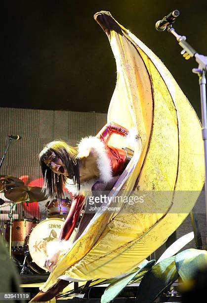 Singer Katy Perry performs at the 2008 KIIS FM Jingle Ball at Honda Center on December 6 2008 in Anaheim California