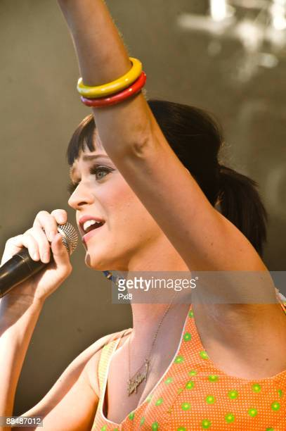 US singer Katy Perry performs at the Caribana Festival on June 13 2009 in CranspresCeligny Switzerland