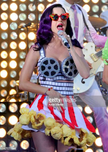 "Singer Katy Perry performs at the first-ever Pepsi/Billboard Summer Beats special live performance for ""Katy Perry: Part Of Me"" at Grauman's Chinese..."