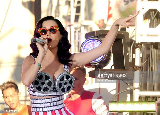 Singer Katy Perry performs at the firstever Pepsi/Billboard Summer Beats special live performance for 'Katy Perry Part Of Me' at Grauman's Chinese...