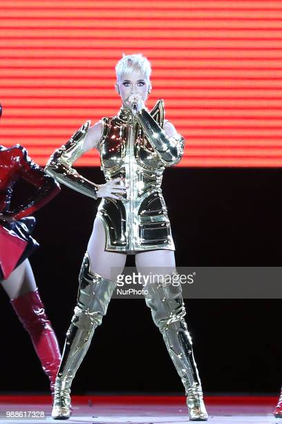 US singer Katy Perry performs at the Rock in Rio Lisboa 2018 music festival in Lisbon Portugal on June 30 2018