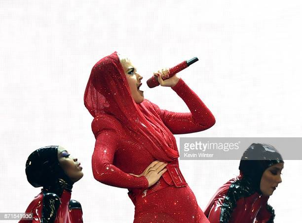 Singer Katy Perry performs at the Staples Center on November 7 2017 in Los Angeles California