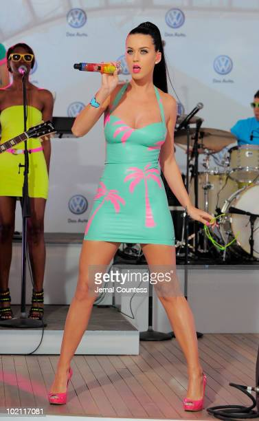 Singer Katy Perry performs at the world premiere of Volkswagen's new Jetta compact sedan at Times Square on June 15 2010 in New York City