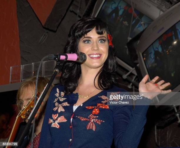 Singer Katy Perry performs before she signs copies of One of the Boys at Mixup Plaza Loreto on October 17 2008 in Mexico City