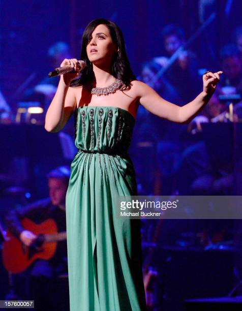 Singer Katy Perry performs during a celebration of Carole King and her music to benefit Paul Newman's The Painted Turtle Camp at the Dolby Theatre on...