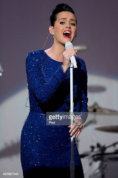 Singer Katy Perry performs during a concert commemorating the Special Olympics with U.S. President Barack Obama, not pictured, in the State Dining...