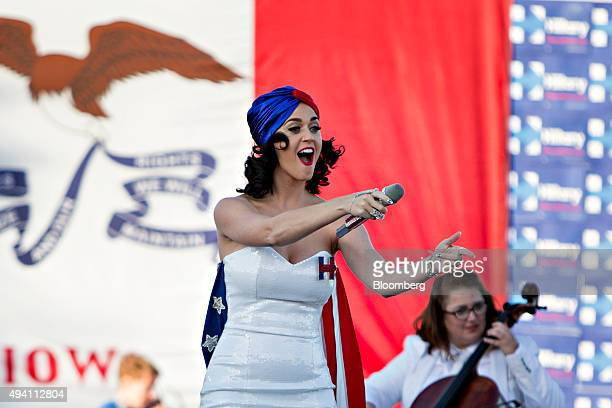 Singer Katy Perry performs during a rally for Hillary Clinton former Secretary of State and 2016 Democratic presidential candidate not pictured ahead...