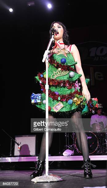 Singer Katy Perry performs during the 2008 Q102 Jingle Ball at the Susquehanna Bank Center on December 14 2008 in Camden New Jersey