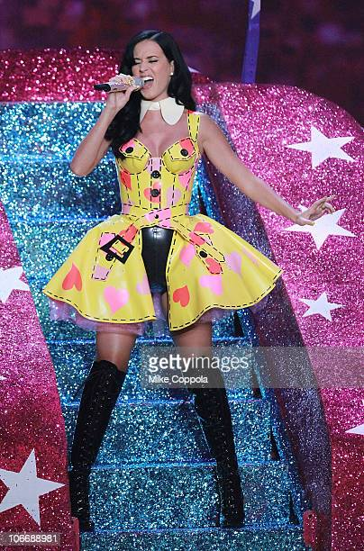 Singer Katy Perry performs during the 2010 Victoria's Secret Fashion Show at the Lexington Avenue Armory on November 10 2010 in New York City
