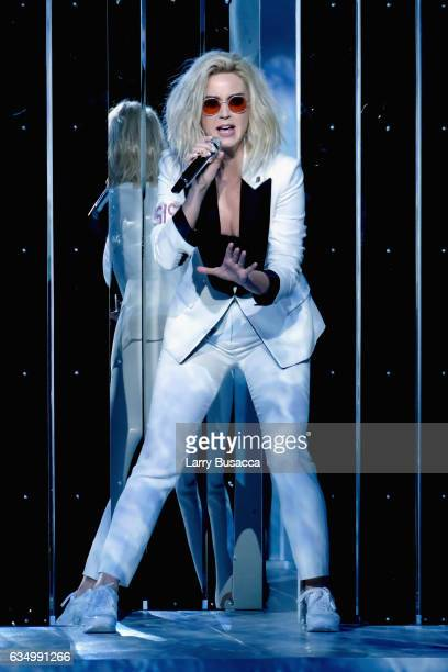 Singer Katy Perry performs during The 59th GRAMMY Awards at STAPLES Center on February 12 2017 in Los Angeles California