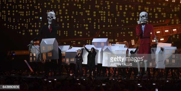 US singer Katy Perry performs during the BRIT Awards 2017 ceremony and live show in London on February 22 2017 / AFP / Justin TALLIS / RESTRICTED TO...