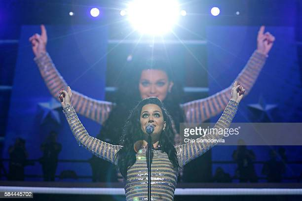Singer Katy Perry performs during the fourth day of the Democratic National Convention at the Wells Fargo Center July 28 2016 in Philadelphia...