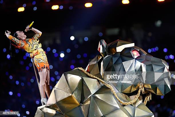 Singer Katy Perry performs during the Pepsi Super Bowl XLIX Halftime Show at University of Phoenix Stadium on February 1 2015 in Glendale Arizona