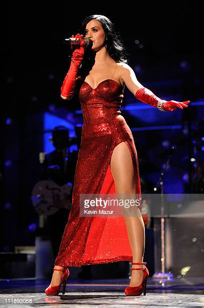 Singer Katy Perry performs during 'VH1 Divas Salute the Troops' presented by the USO at the MCAS Miramar on December 3 2010 in Miramar California...